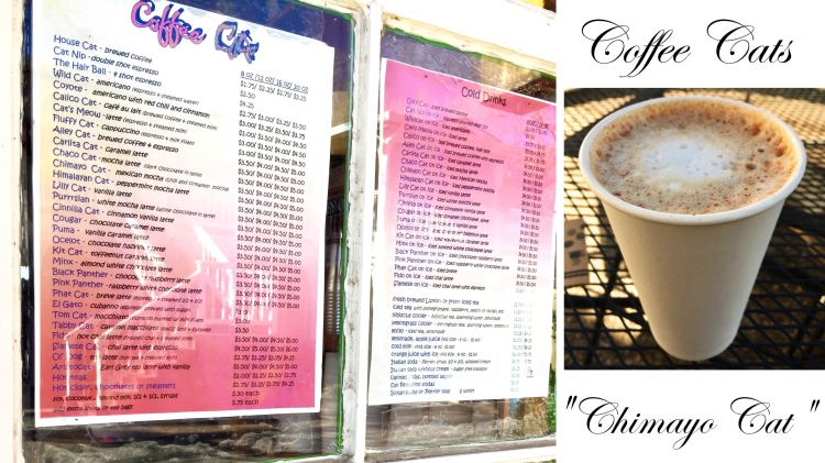 "Coffee Cats menu and ""Chimayo Cat"" drink, Taos, New Mexico, USA © 2018 ericarobbin.com 