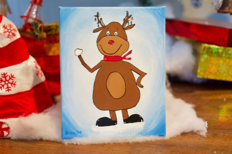 Reindeer acrylic painting © 2018 ericarobbin.com   All rights reserved.